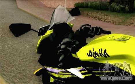 Kawasaki Ninja 250RR Mono Yellow para GTA San Andreas vista hacia atrás