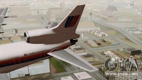 Lookheed L-1011 United Als para GTA San Andreas vista posterior izquierda