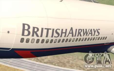 Lookheed L-1011 British Airways para GTA San Andreas vista hacia atrás