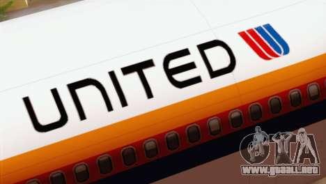Lookheed L-1011 United Als para GTA San Andreas vista hacia atrás