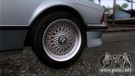 BMW M635 CSi 1984 Stock para GTA San Andreas vista posterior izquierda