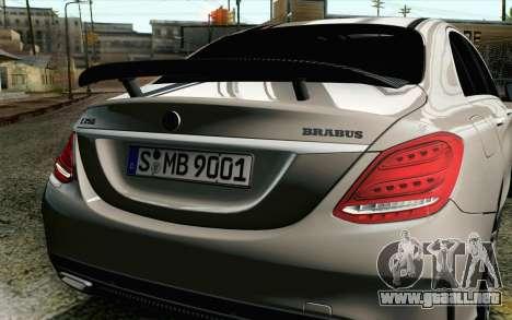 Mercedes-Benz C250 AMG Brabus Biturbo Edition EU para GTA San Andreas vista hacia atrás