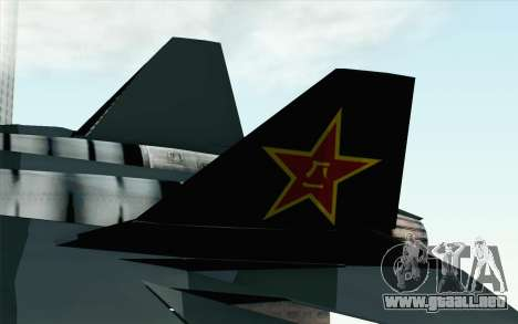 Sukhoi PAK-FA China Air Force para GTA San Andreas vista posterior izquierda