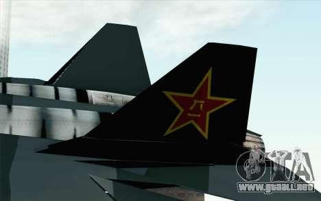 Sukhoi PAK-FA China Air Force para GTA San Andreas vista posterior izquierda
