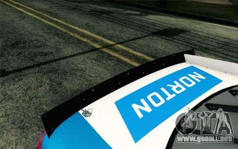 NASCAR Ford Fusion 2012 Plate Track para GTA San Andreas vista hacia atrás