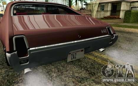 Oldsmobile 442 Holiday Coupe 1969 HQLM para GTA San Andreas vista hacia atrás