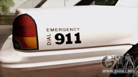 GTA 5 Vapid Stanier Sheriff para GTA San Andreas vista hacia atrás