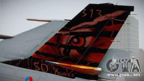 F-16 Fighting Falcon 50th Anniv. of Squadron 313 para GTA San Andreas vista posterior izquierda