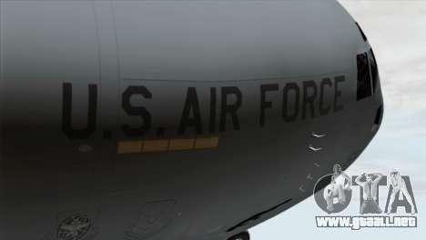 C-17A Globemaster III USAF March para GTA San Andreas vista hacia atrás