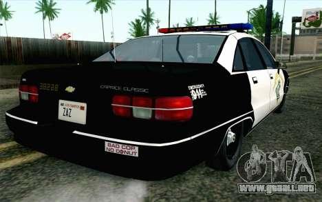 Chevy Caprice SAHP SAPD Highway Patrol v1 para GTA San Andreas left
