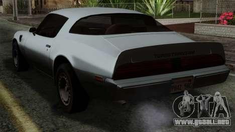 Pontiac Trans AM Interior para GTA San Andreas left