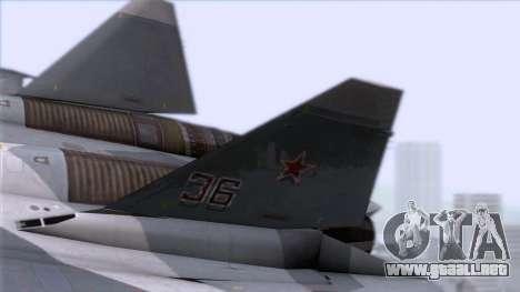 Sukhoi T-50 PAK FA Akula with Trinity para GTA San Andreas vista posterior izquierda