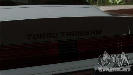 Pontiac Trans AM Interior para la visión correcta GTA San Andreas