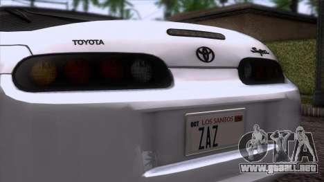 Toyota Supra US-Spec (JZA80) 1993 HQLM para GTA San Andreas vista hacia atrás