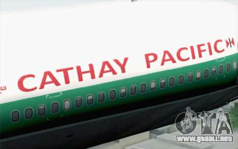 Lookheed L-1011 Cathay P para GTA San Andreas vista hacia atrás