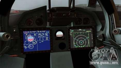 SU-37 UPEO para GTA San Andreas vista hacia atrás