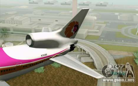 Lookheed L-1011 Hawaiian para GTA San Andreas vista posterior izquierda