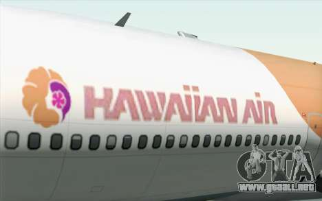 Lookheed L-1011 Hawaiian para GTA San Andreas vista hacia atrás
