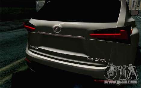 Lexus NX 200T v5 para GTA San Andreas vista hacia atrás