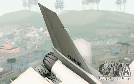 Mitsubishi F-2 White JASDF Skin para GTA San Andreas vista posterior izquierda