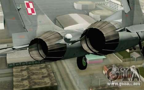 MIG-29 Polish Air Force para GTA San Andreas vista hacia atrás