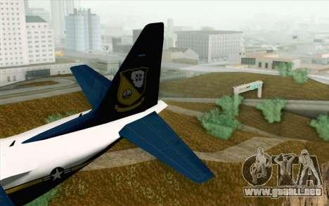 C-130H Hercules Blue Angels para GTA San Andreas vista posterior izquierda