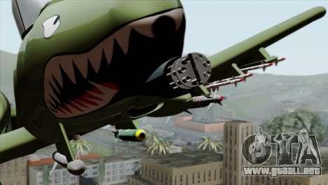 A-10 Warthog Shark Attack para GTA San Andreas vista hacia atrás