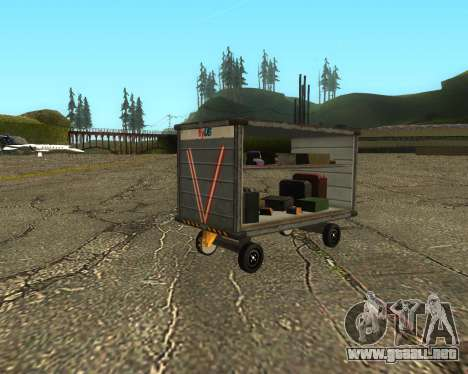 New Bagbox A para GTA San Andreas vista posterior izquierda