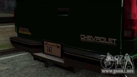 Chevrolet Suburban GMT400 1998 para GTA San Andreas vista hacia atrás