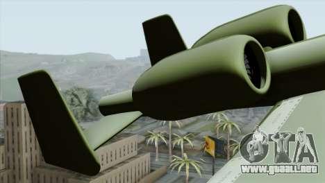A-10 Warthog Shark Attack para GTA San Andreas vista posterior izquierda