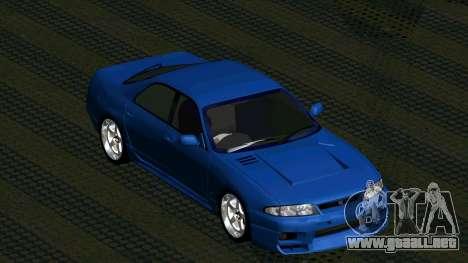 Nissan Skyline R33 4door outech para GTA San Andreas vista hacia atrás