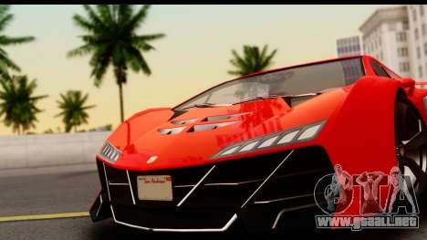 GTA 5 Pegassi Zentorno Zen Edition para GTA San Andreas vista posterior izquierda