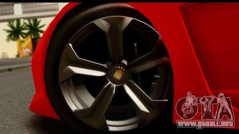 GTA 5 Pegassi Zentorno Zen Edition para GTA San Andreas vista hacia atrás