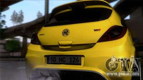 Opel Corsa OPC para GTA San Andreas vista hacia atrás