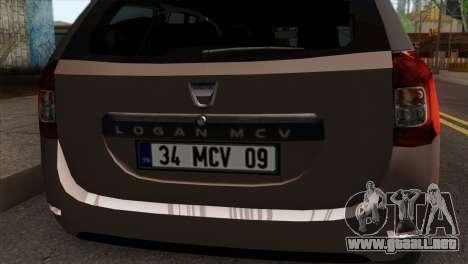 Dacia Logan MCV 2013 IVF para GTA San Andreas vista hacia atrás