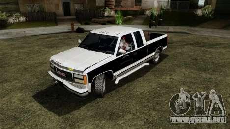 GMC Sierra 2500 1992 Extended Cab Final para GTA San Andreas vista hacia atrás