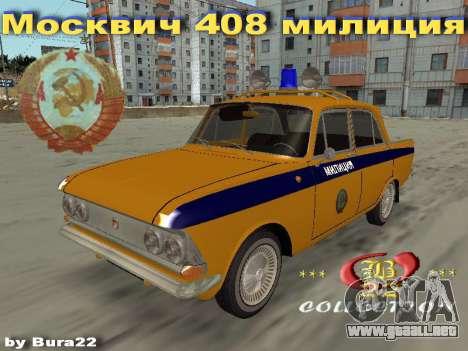 Moskvich 408 De La Policía para GTA San Andreas left