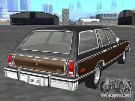 Plymouth Volare Wagon 1976 wood para la visión correcta GTA San Andreas