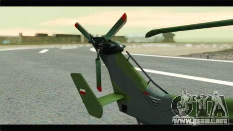 Eurocopter Tiger Polish Air Force para GTA San Andreas vista posterior izquierda