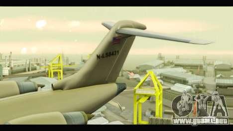GTA 5 Buckingham Miljet Update para GTA San Andreas vista posterior izquierda