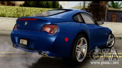 BMW Z4M Coupe 2008 para GTA San Andreas left