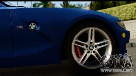 BMW Z4M Coupe 2008 para GTA San Andreas vista hacia atrás