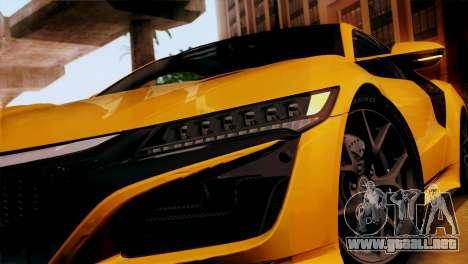Acura NSX 2016 v1.0 SA Plate para GTA San Andreas vista posterior izquierda