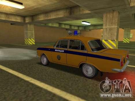 Moskvich 408 De La Policía para GTA San Andreas vista posterior izquierda