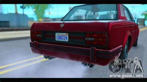 GTA 5 Benefactor Glendale Special IVF para GTA San Andreas vista hacia atrás