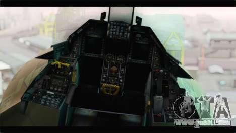 F-16A Fuerza Aerea Venezolana para GTA San Andreas vista hacia atrás