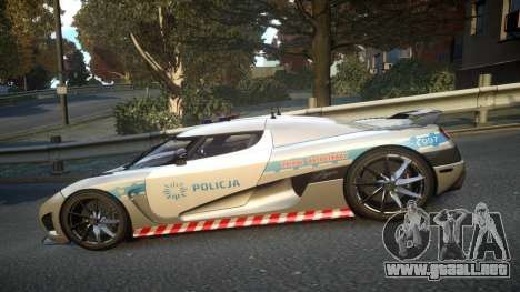 Koenigsegg Agera Polish Highway Patrol Police para GTA 4 left