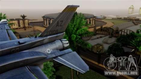 EMB F-16F Fighting Falcon US Air Force para GTA San Andreas vista posterior izquierda