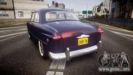 Ford Custom Tudor 1949 v2.2 para GTA 4 Vista posterior izquierda