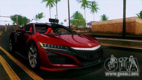 Acura NSX 2016 v1.0 SA Plate para la vista superior GTA San Andreas